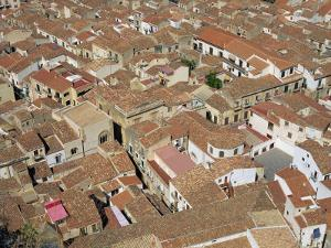Aerial View of Roof Tops of the City Centre Seen from the Rock, in Cefalu, Sicily, Italy by Pottage Julian
