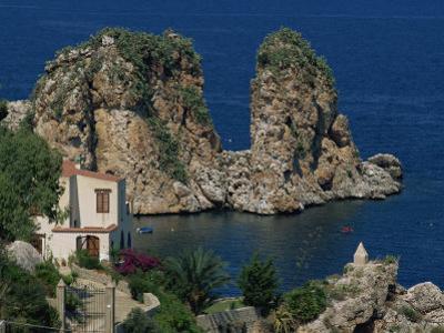 Rocks Towering in Golfo Di Castellammare, Slopello, Sicily, Italy, Europe