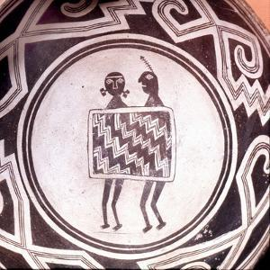 Pottery Bowl with Schematic Human Figures and Black-On-White Geometric Design