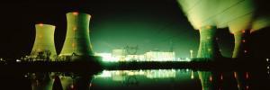 Power Station Illuminated at Night, Three Mile Island, Pennsylvania, USA