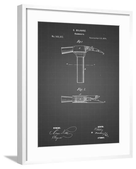 PP689-Black Grid Claw Hammer 1874 Patent Poster-Cole Borders-Framed Giclee Print