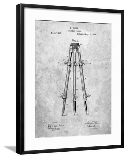PP703-Slate Antique Extension Tripod Patent Poster-Cole Borders-Framed Giclee Print