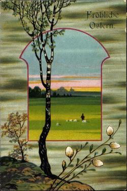 Präge Glückwunsch Ostern, Baum, Weide, Schäfer