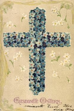 Präge Glückwunsch Ostern, Blüten in Kreuzform