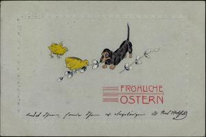 Präge Glückwunsch Ostern, Dackel Mit Küken, Zweige