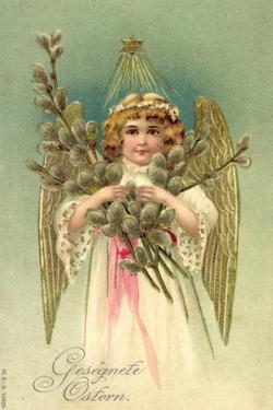 Präge Glückwunsch Ostern, Engel Mit Weidenkätzchen