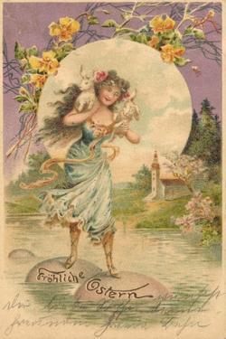 Präge Glückwunsch Ostern, Frau Trägt Hasen Über See