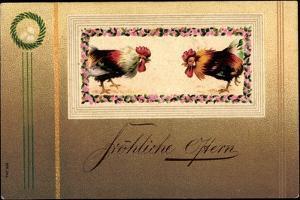 Präge Glückwunsch Ostern, Hahnenkampf, Ostereier
