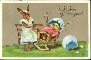 Präge Glückwunsch Ostern, Hase Schaukelt Küken