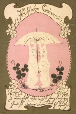 Präge Glückwunsch Ostern, Hasen Unter Einem Schirm