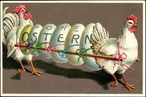 Präge Glückwunsch Ostern, Hennen Tragen 6 Ostereier