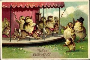 Präge Glückwunsch Ostern, Küken Auf Hasenkarussel