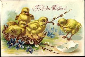 Präge Glückwunsch Ostern, Küken, Korb, Zweige