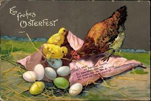 Präge Glückwunsch Ostern, Küken Mit Eiern, Henne