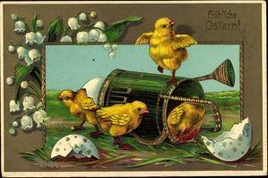 Präge Glückwunsch Ostern, Küken Mit Gießkanne