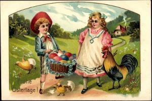 Präge Glückwunsch Ostern, Küken, Ostereier, Pärchen
