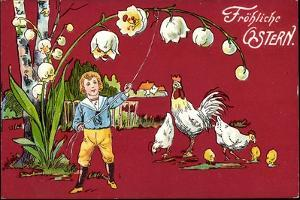 Präge Glückwunsch Ostern, Maiglöckchen, Henne, Küken