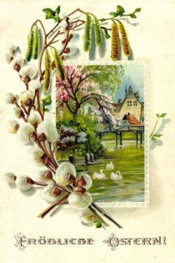 Präge Glückwunsch Ostern, Teich, Haus, Baum