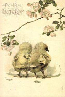 Präge Glückwunsch Ostern, Zwei Küken Aneinander