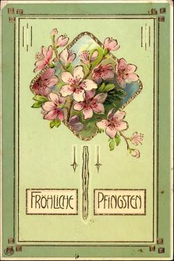 Präge Glückwunsch Pfingsten, Baumblüten, Gold