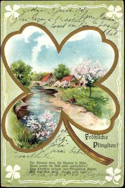 Präge Glückwunsch Pfingsten, Flusspartie Mit Mühle