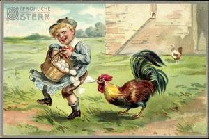 Präge Litho Glückwunsch Ostern, Ein Hahn Zwickt Kind