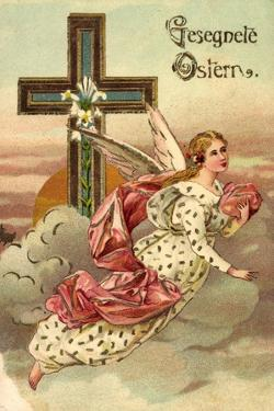 Präge Litho Glückwunsch Ostern, Engel Fliegend, Kreuz