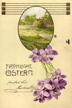 Präge Litho Glückwunsch Ostern, Haus, Bäume, Veilchen