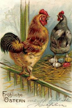 Präge Litho Glückwunsch Ostern, Hühner Legen Ostereier