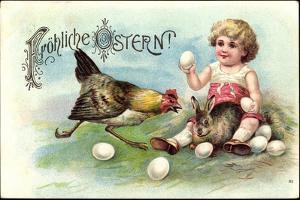 Präge Litho Glückwunsch Ostern, Kind, Hase, Henne, Eier