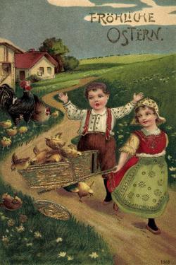 Präge Litho Glückwunsch Ostern, Kinder Mit Küken, Land
