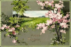 Präge Litho Glückwunsch Pfingsten, Baumblüte, Wiese