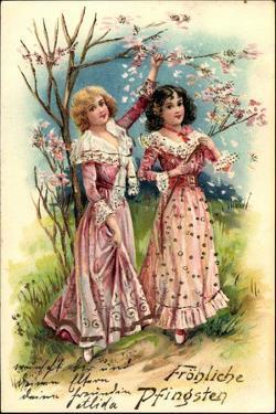 Präge Litho Glückwunsch Pfingsten, Frauen Mit Blumen