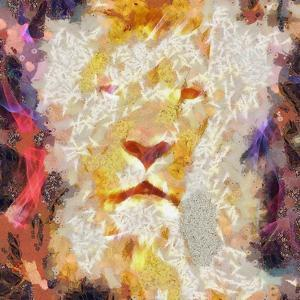 Abstract Lion Collage Painting by prawny