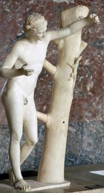 Sculpure of Apollo Sauroctone (Apollo the lizard-slayer).  Artist: Praxiteles by Praxiteles