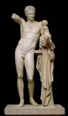 Statue of Hermes and the Infant Dionysus, circa 330 BC (Parian Marble) by Praxiteles
