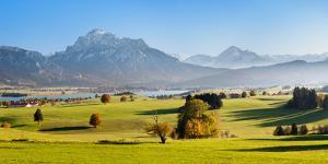 Prealps Landscape with Forggensee Lake at Sunset, Fussen, Ostallgau, Allgau Alps, Bavaria, Germany