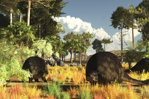 Prehistoric Glyptodonts Graze on Grassy Plains