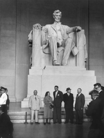 Premier Nikita Khrushchev and Others Beneath the Lincoln Statue in the Lincoln Memorial