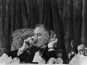 Pres. Franklin Roosevelt Drinking Wine and Smoking a Cigarette During the Jackson Day Dinner