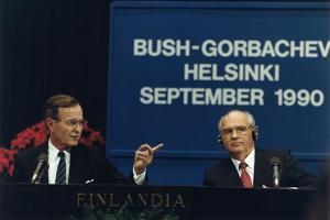 Pres. George H. W. Bush and Soviet Pres. Mikhail Gorbachev at the Helsinki Summit, Sept. 9, 1990