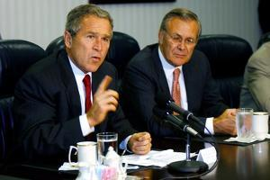 Pres. George W. Bush and Donald Rumsfeld Meet with Press on Sept. 17, 2001