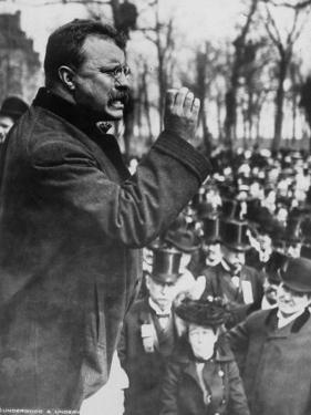 Pres. Theodore Roosevelt Speaking to Crowd During Campaign
