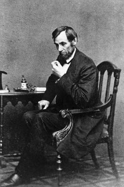 President Abraham Lincoln Sitting in Chair