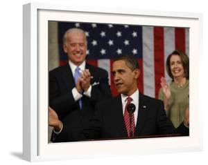 President Barack Obama Acknowledges Applause before His Address to a Joint Session of Congress