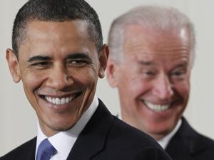 President Barack Obama and Vice President Joe Biden in the East Room of the White House