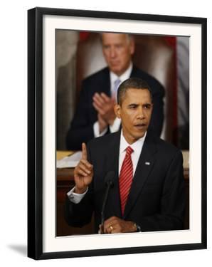 President Barack Obama Gestures While Delivering Speech on Healthcare to Joint Session of Congress
