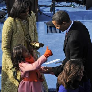 President Barack Obama is Congratulated by his Daughter after Taking the Oath of Office, Washington