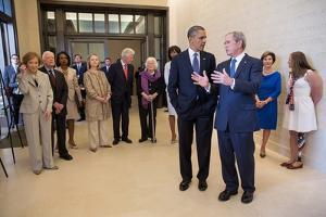 President Barack Obama Talks with Former President George W. Bush, April 25, 2013