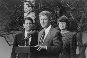 President Bill Clinton with Vp Albert Gore and Attorney General Janet Reno